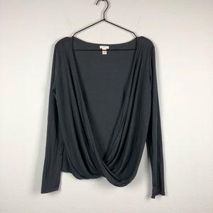 BP • Charcoal Grey Long Sleeve Draped Front Top